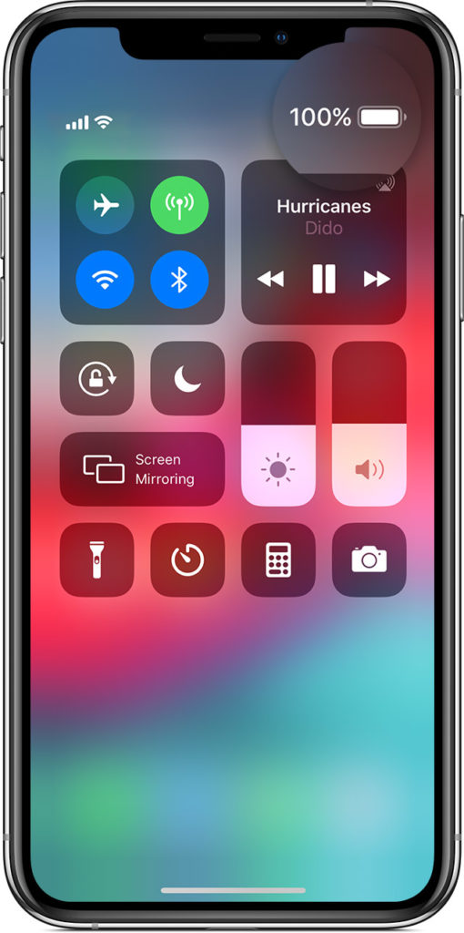 How to display battery percentage on iPhone using the built in control center.
