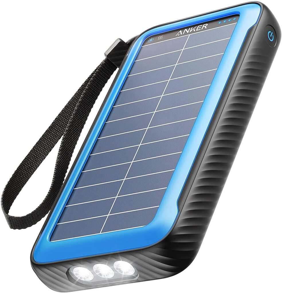 Product image of the Anker powercore solar phone charger with battery.