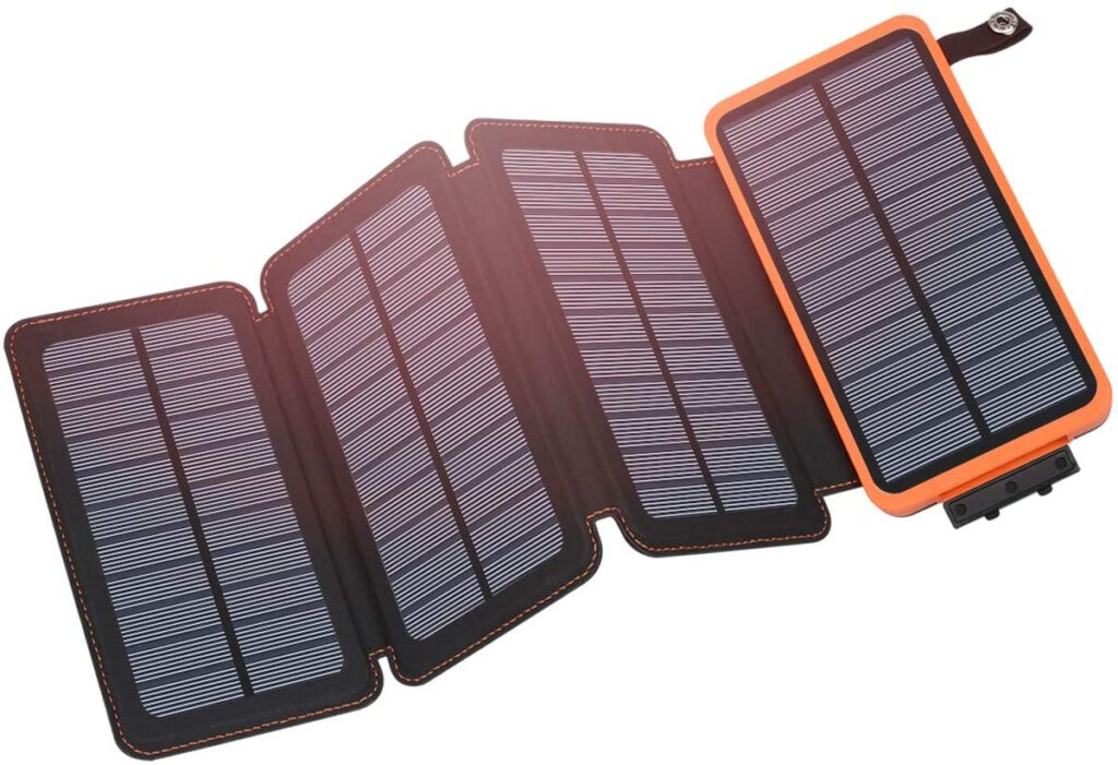 Product image of Hiluckey solar phone charger with battery.