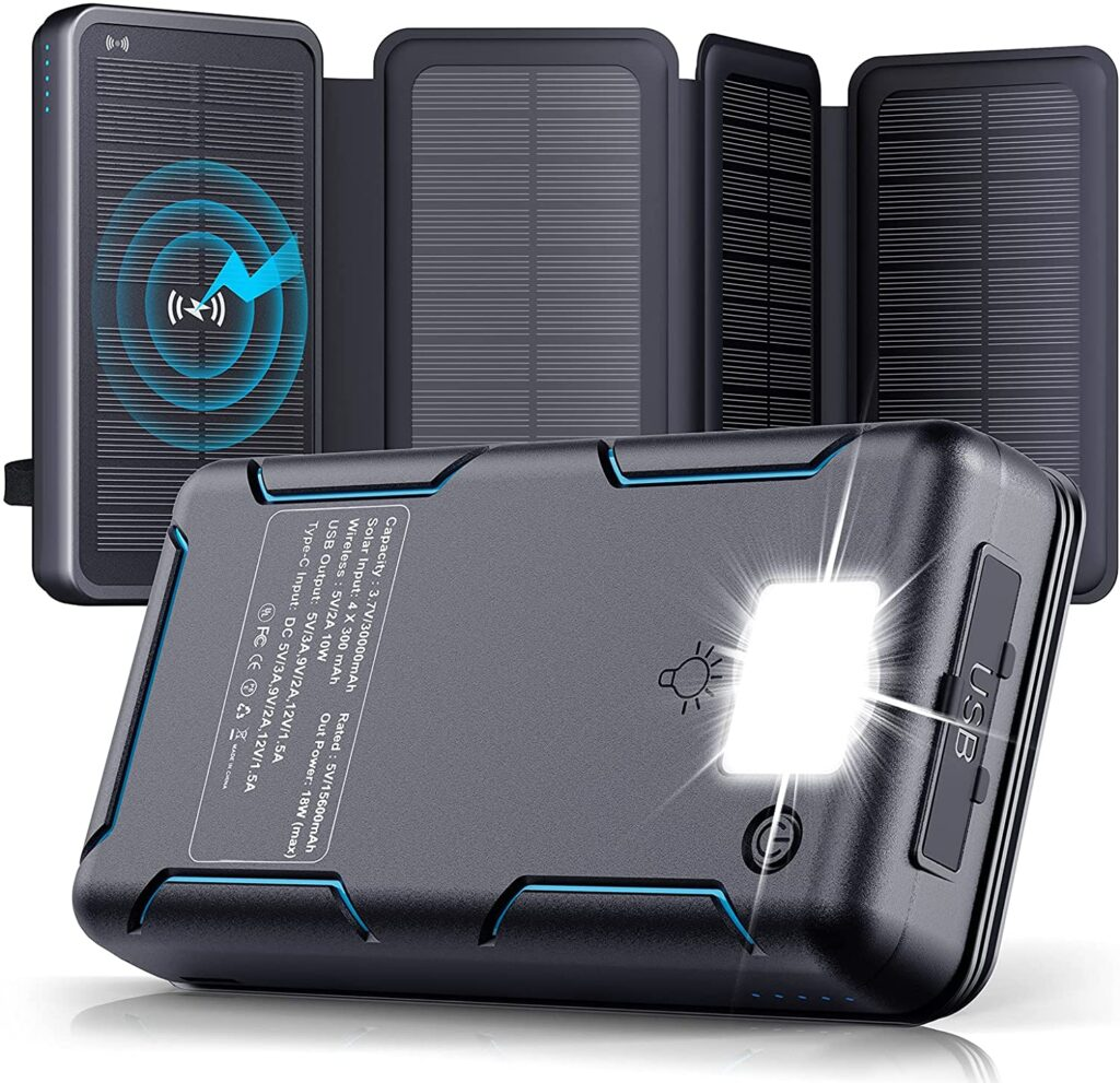Product image of the Winlove solar phone charger with battery storage options.